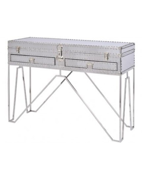 Libra - Duke Polished Sliver Steel Two Drawer Console Table - Asco Lights